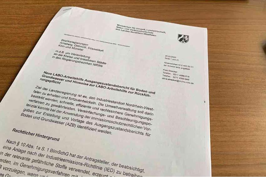 Erlass Umweltministerium (MULNV) NRW vom 25.03.2020 zum Ausgangszustandsbericht (AZB)